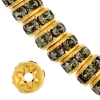 Rhinestone Rondelle (Flat Round) 5mm Gold/Black Diamond